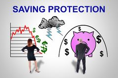 Saving protection concept watched by business people royalty free stock photo