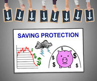 Saving protection concept on a whiteboard Royalty Free Stock Photography