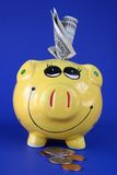 Saving for a rainy day 1880. A yellow piggy bank against a color contrasting blue background. The piggy bank has US dollars sticking in the top of it and US Royalty Free Stock Images