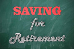Saving for retirement blackboard Stock Image
