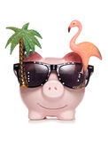 Saving for retirement piggy bank cut out Royalty Free Stock Images