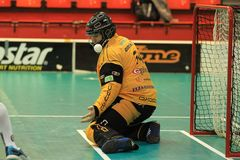 Saving Roman Ciompa in floorball Royalty Free Stock Photo