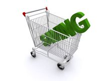 Saving in shopping trolley. Three dimensional illustration of green word saving in shopping cart or trolley; business concept Royalty Free Stock Images