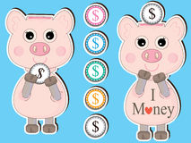Saving Start 1 Coin_eps. Illustration of design cartoon standing piggy bank. Concept of saving start for 1 coin Royalty Free Stock Image