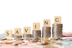 SAVING TEXT WRITTEN ON BLOCK royalty free stock image