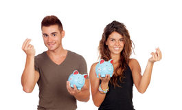 Saving for their future life. Young couple saving for their future life Stock Photography