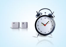 Saving Time, control+s key with clock. Alarm clock and computer keys Royalty Free Stock Photo