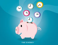 Saving time design Time is Money Piggy Bank Vector Illustration Royalty Free Stock Photos