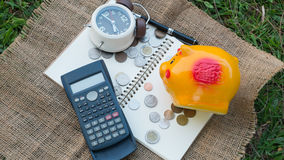 Saving with timing. Saving for retirement, saving plan, saving for investment, saving for education, Relative of time with saving, saving for travel stock photos