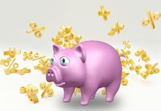 Saving to beat interest. Safe represented by a pig isolated on background with falling percent signs, 3D rendering Royalty Free Stock Photo