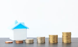 Saving to buy a house that stack  coin growing Royalty Free Stock Photos