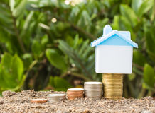 Saving to buy a house that stack  coin growing Royalty Free Stock Photography