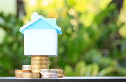 Saving to buy a house that stack  coin growing Stock Image