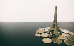 Saving travel money for Paris France Vacation Royalty Free Stock Image