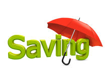 Saving umbrella. 3d image, Banking conceptual, saving umbrella Stock Photos