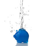 Saving water. Piggy bank filled with water - saving water concept Stock Image