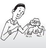 Saving water. Hand drawn illustration of a man asking people to save water Stock Image