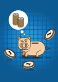 Saving for wealth with pig money box Royalty Free Stock Image
