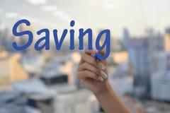 Saving wording Stock Photos