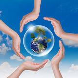 Saving world. Hand hold Bubbles and tree in the blue sky Royalty Free Stock Image