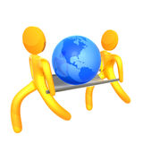 Saving the world 3d humanoid icon Royalty Free Stock Photo