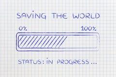 Saving the world progress bar loading Stock Photography