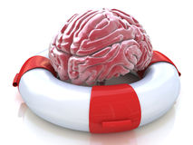 Saving your brain and preserving memory, neurological function. Saving your brain and preserving memory and neurological function as a lifesaver in the ocean Royalty Free Stock Photo