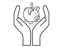Savings. Vector illustration of piggy bank between hands Royalty Free Stock Photo
