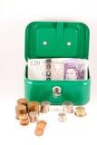 Savings. Savings box with UK cash Royalty Free Stock Images