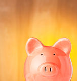 Savings. Rich looking Piggy Bank on a gold background royalty free stock image