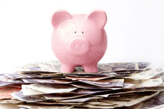 Savings. Piggy bank on stack of British Pounds Stock Photo