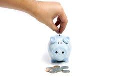 Savings. Human hand and blue piggy bank savings on white isolated stock photography