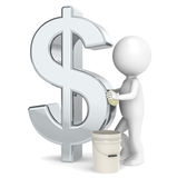 Savings. 3D little human character taking care of his savings Royalty Free Stock Images