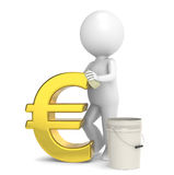 Savings. 3D little human character taking care of his savings. Euro Gold Stock Photo