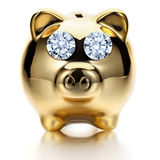 Savings. Piggy bank with sparkling diamond eye Royalty Free Stock Images