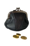 Savings. Black leather purse with coins isolated on white royalty free stock photo