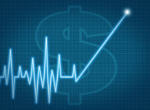 Savings account growth taxes stock prices rise ekg Stock Photo