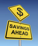 Savings ahead road sign 3d illustration Royalty Free Stock Image