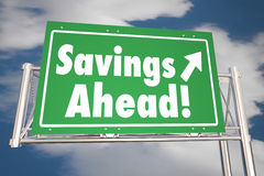 Savings Ahead Save Money Road Freeway Sign Stock Image