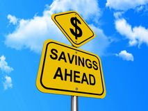 Savings ahead sign. Dollar sign on savings ahead road sign with blue sky and cloudscape background Stock Photography