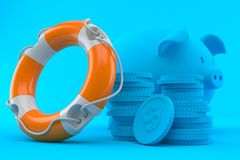Savings background with life buoy. In blue color. 3d illustration Royalty Free Stock Images