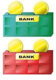 Bank and coins Stock Photo