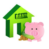 Savings on the bank. Illustration design over a white background Royalty Free Stock Photos