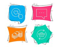 Savings, Blog and Like button icons. Refresh cart sign. Finance currency, Chat message, Press love. Set of Savings, Blog and Like button icons. Refresh cart Royalty Free Stock Photo