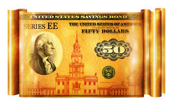 Savings Bond Gold Banner. Photo Illustration of a U.S. Savings Bond retouched and re-illustrated to create a gold banner Royalty Free Stock Photography