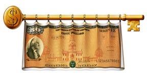 Savings Bond Key Banner. Photo Illustration of a Savings Bond retouched and re-illustrated as a banner hanging on a gold key Stock Photo