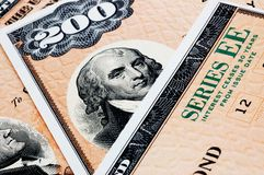 Savings bonds royalty free stock photos