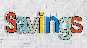 Savings and Brick Wall in the Background Stock Photo