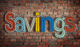 Savings and Brick Wall in the Background Stock Images