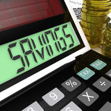 Savings Calculator Means Keeping And Saving Money Stock Photography